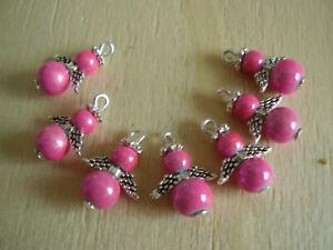 7 mini Schutzengel Glasperlen pink miracle silber flügel himmel °L. 13 mm °N1