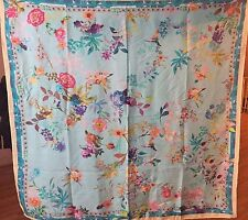 "NWT VISMAYA 100% Silk Square Scarf 41"" x 41"" Turquoise Multi Made in India"