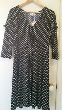 NEW Leona Edmiston StoneTear drop tie neck ruffle dress, size 14