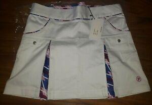 PAHR GOLF Tennis Short Skirt NWT Argyle Pleated Schoolgirl 2 Plaid White Skort
