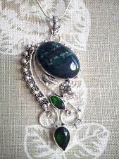Chain included. Free P&P Gorgeous Design Gemstone Pendant,