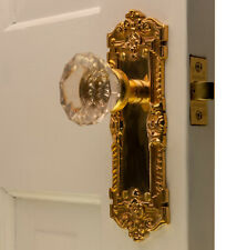 The Wells Passage Set in Polished Brass with Glass Door Knobs