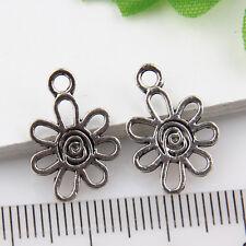 30Pcs Wholesale Zinc Alloy Small Flower Charms Pendants 13x11mm 1A1877