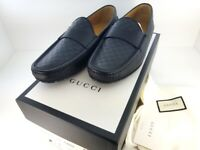 NWT Gucci Black Men 466904 Leather Gg Guccissima Loafers 8 G Flat Shoes w/Box