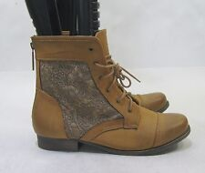 """Tan 1"""" Block Heel Round Toe Sexy Lace Up Ankle Boots Size 11"""