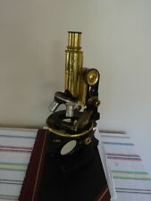 MICROSCOPE CARL ZEISS GERMANY ANTIQUE BRASS WITH 4 OBJECTIVES OPTICS AS IS #LOB
