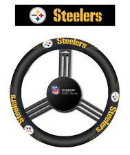 Pittsburgh Steelers Black Vinyl Massage Grip Steering Wheel Cover