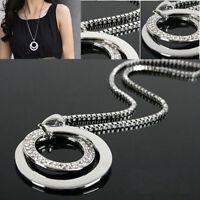 Damen Halskette Kristall Strass Kreis Anhänger Lange Kette-Silber Modeschmuck.