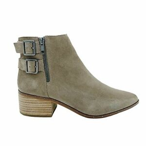 Bleecker & Bond Georgia Taupe Leather Suede Ankle Booties Size 8.5 Wooden Heel