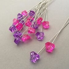 20 Decorative Hat Pins / Stick Pins 10cm - Very Strong - Pink and Lilac Crystals