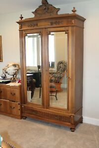 Louis XVI WALNUT BEVEL MIRRORED DOUBLE-DOOR ARMOIRE