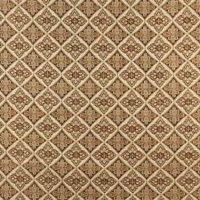 A0012E Beige Gold Brown Ivory Diamond Brocade Upholstery Fabric By The Yard