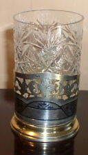 VINTAGE  RUSSIAN  STERLING  SILVER NIELLO TEA  GLASS HOLDER WITH GLASS KUBACHI