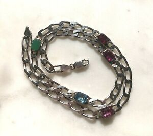 """Sterling Silver 18"""" Figaro Chain Necklace w Colored Gemstones 925 Italy"""