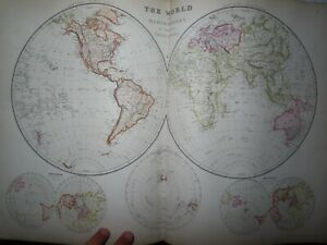 1882 THE COMPREHENSIVE ATLAS & GEOGRAPHY of the WORLD by BLACKIE 67 MAPS CHINA