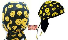 YELLOW Big Happy Smiley SMILE FACE FITTED Bandana w/TIES Head Skull DOO DO Rag