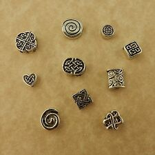100 silver plated pewter assorted Celtic Knot & Celtic Spiral beads Irish