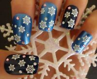 Christmas White Glitter Snowflakes Nail Art Stickers Decals Transfers (183)