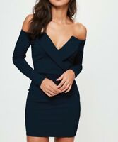 MISSGUIDED Navy Bardot Foldover Wrap Dress  UK 4 US 0 EU 32  (camg156)