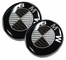 1pcs NEW BMW 82mm  Black Silver Carbon Fiber Emblems Trunk Hood Badge Logo Set