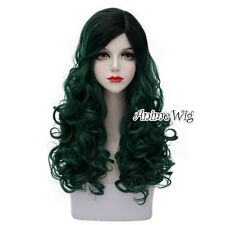 Lolita Dark Green Mix Black Long 60CM Curly Fashion Party Cosplay Wig + Wig Cap