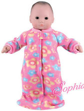 Pink Flower Fleece Sleeper for Bitty Baby Doll Clothes Sew Beautiful