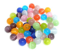 50 MIXED (Grade D) CATS EYES ROUND BEADS 8mm~bracelet~charms~necklace (25C)