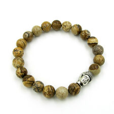 Yellow Gemstone Alloy Metal Buddha Tibet Buddhist Prayer Beads Mala Bracelet
