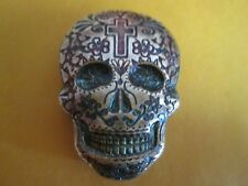 2 oz .999 fine  Silver Cross Day of the Dead  Skull - Monarch Metals