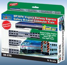 NEW Kato MP36PH Virgina Railway Gallery Bi-Level Set Commuter Train N Scale