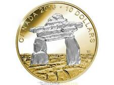 $10 Dollar Iconic Canada Inukshuk .9999 Gold Plated Fine Silver Proof 2016