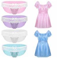 Sissy Pouch Thong Panties Lace Briefs Mens Underwear Crossdress Dress Nightwear