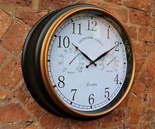 Reloj de pared estación de jardín al aire libre Termómetro y humedad 45cm Negro Borde De Oro