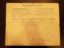 Tax Notice for Purchased Land Whiteside, IL 1871