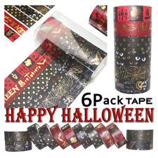 6pcs Halloween Bronzing Washi Tape Set DIY Scrapbooking Adhesive Masking Decor