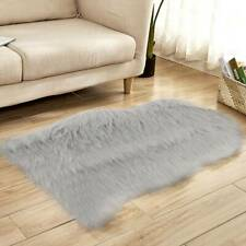 Fluffy Faux Fur Sheepskin Rug Non Slip Washable Mat Small Rugs Wool Shaggy Grey