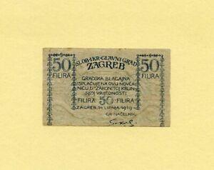CROATIA 50 FILIRA 1919 ZAGREB CITY Emergency currency City money of ZAGREB RARE