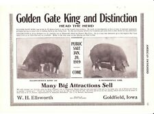 1919 American Swineherd Hog Sales  Goldfield & Irvington IA ~ Morton IL