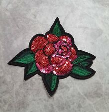 ROSE PATCH SEQUIN FLOWER FLORAL IRON ON APPLIQUE BADGE