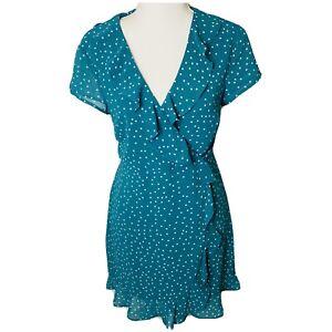 Bardot Size 10 Blue Green White Polka dot Flutter Semi Wrap Dress Cut out back
