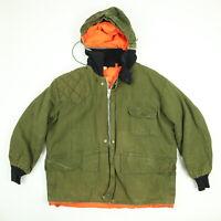Vtg 60s SEARS Hunting Coat Mens XL OG Green Reversable Orange Hooded Talon