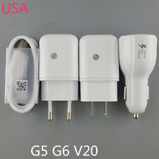 Original USB Data Cable Fast Dual Car Charger Rapid Travel Adapter LG G5 G6 V20