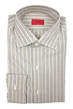 New ISAIA Napoli Taupe Striped Extrafine Cotton Dress Shirt 17.5 44 XL NWT $450!