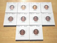 1980 1981 1982 - 1985 1986 1987 1988 1989 s Lincoln Cent Penny Proof 10 Coin Lot