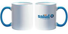 11 oz Ceramic Sublimation Mugs - Light Blue Rim & Handle - 36/case (21128-1)