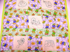 HANDMADE BABY QUILT /EMBROIDERED GREENWORK BABY THINGS 27 X 45