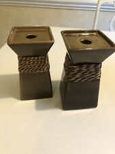 2 Party Lite Ceramic Pottery Brown Square Pillar Or Tapered Candle Holders