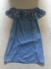 F&F Bardot Dress Floral Denim Size 8