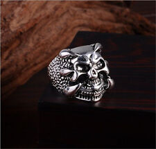 Men's Silver Stainless Steel Silver Fashion Gothic Skull Male Finger Ring Size 8