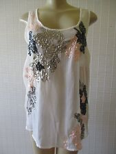 CANDIE'S MULTI-COLOR FLORAL PRINT SEQUIN SLEEVELESS TOP SIZE L - NWT